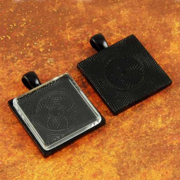 25mm 1 Inch Square Black Pendant Tray Flat Glass
