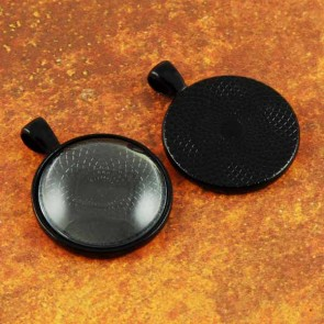 25mm 1 Inch Circle Black Pendant Tray