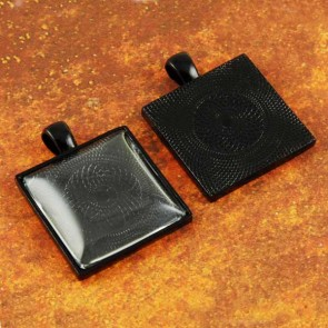 25mm 1 Inch Square Black Pendant Tray