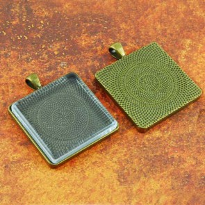 30mm Square Antique Brass Pendant Tray Flat Glass