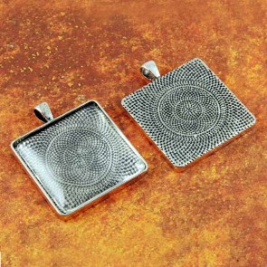 30mm Square Antique Silver Pendant Tray