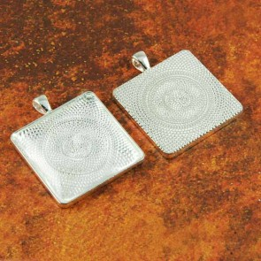 30mm Square Shiny Silver Pendant Tray