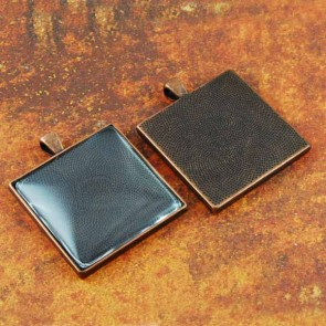 35mm 1-3/8 Inch Square Antique Copper Pendant Tray