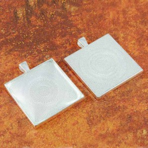 35mm 1-3/8 Inch Square Shiny Silver Pendant Tray