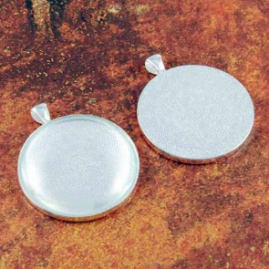 38mm 1.5 Inch Circle Shiny Silver Pendant Tray