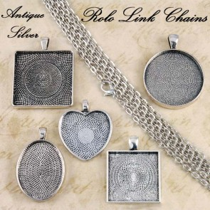 Antique Silver Rolo Oval Link Chains 2mm 24 Inch