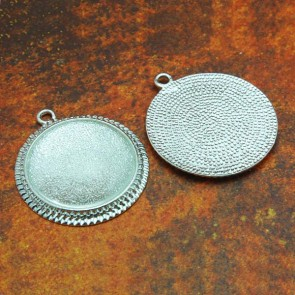 25mm Filigree Circle Shiny Silver Pendant Tray