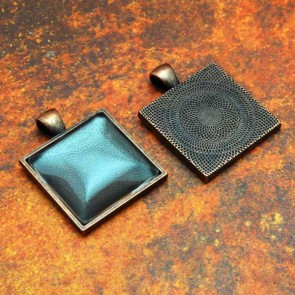 25mm 1 Inch Square Antique Copper Pendant Tray