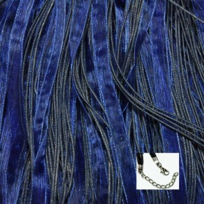 Navy Blue Organza Ribbon Necklaces