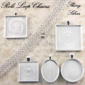 Shiny Silver Rolo Loop Chains 3mm 24 Inch