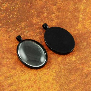 22mm x 30mm Oval Black Pendant Tray