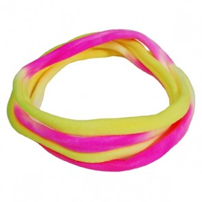 Yellow/White/Pink TieDye Medium Nylon Choker Necklace