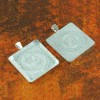 30mm Square Shiny Silver Pendant Tray Flat Glass