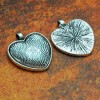 25mm 1 Inch Heart Antique Silver Pendant Tray