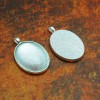 22mm x 30mm Oval Shiny Silver Pendant Tray