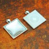 25mm 1 Inch Square Shiny Silver Pendant Tray