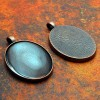 30mm x 40mm Oval Antique Copper Pendant Tray