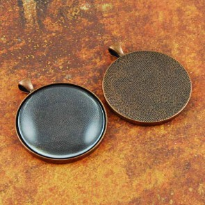 38mm 1.5 Inch Circle Antique Copper Pendant Tray