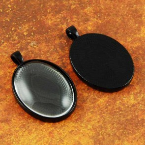 30mm x 40mm Oval Black Pendant Tray