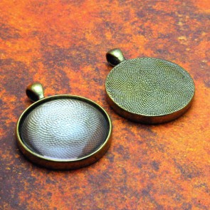 30mm Circle Antique Brass Pendant Tray