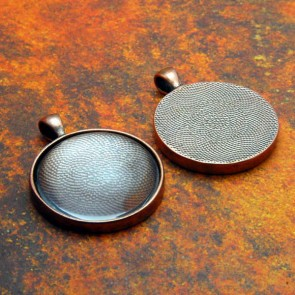 30mm Circle Antique Copper Pendant Tray