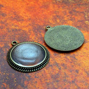 30mm Filigree Circle Antique Brass Pendant Tray