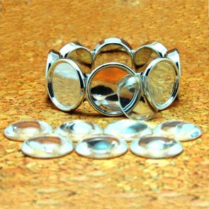 DIY 3/4 Inch 20mm Round Glass Dome Bracelet Kit