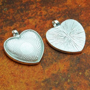 25mm 1 Inch Heart Shiny Silver Pendant Tray