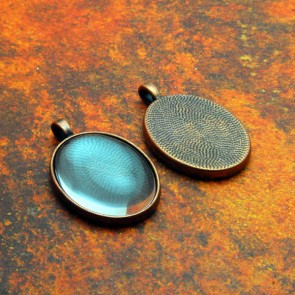 22mm x 30mm Oval Antique Copper Pendant Tray