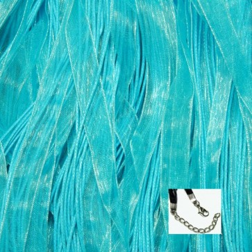 Turquoise Blue Organza Ribbon Necklaces