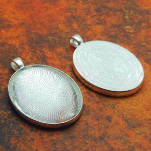 30mm x 40mm Oval Shiny Silver Pendant Tray