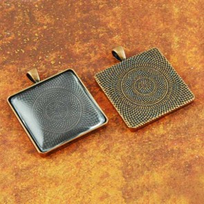 30mm Square Antique Copper Pendant Tray
