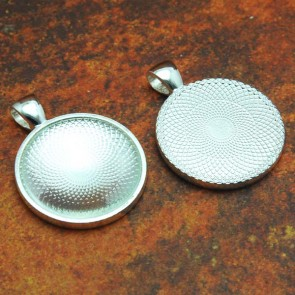 25mm 1 Inch Circle Shiny Silver Tray