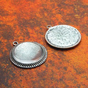 25mm Filigree Circle Antique Silver Pendant Tray