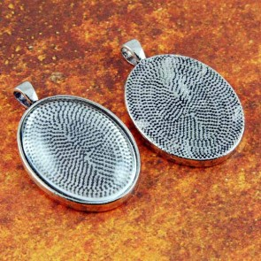 22mm x 30mm Oval Antique Silver Pendant Tray