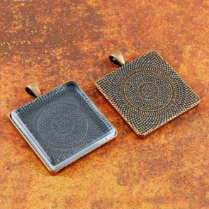 30mm Square Antique Copper Pendant Tray Flat Glass
